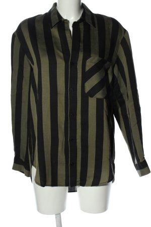 Zara Langarm-Bluse khaki-schwarz Streifenmuster Business-Look