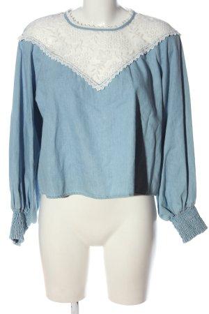 Zara Langarm-Bluse blau-weiß Elegant
