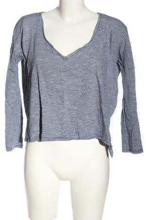 Zara Longsleeve weiß-blau Streifenmuster Casual-Look