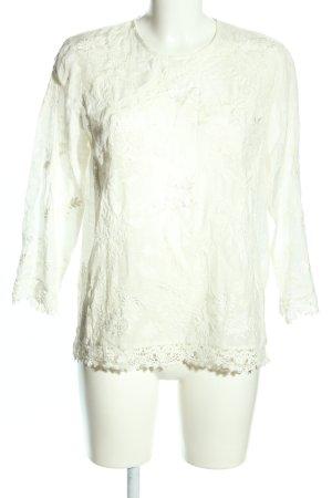 Zara Langarm-Bluse weiß Blumenmuster Casual-Look