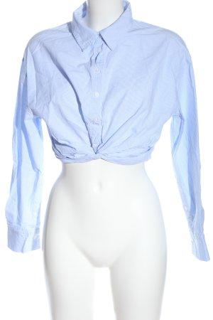 Zara Langarm-Bluse blau-weiß Streifenmuster Business-Look