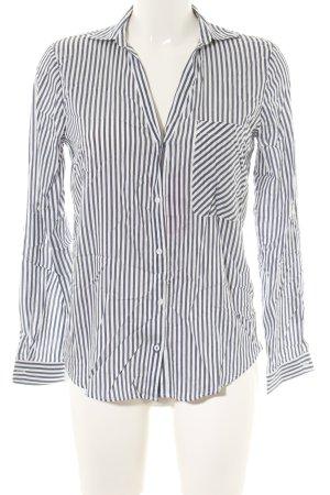 Zara Langarm-Bluse weiß-blau Streifenmuster Business-Look