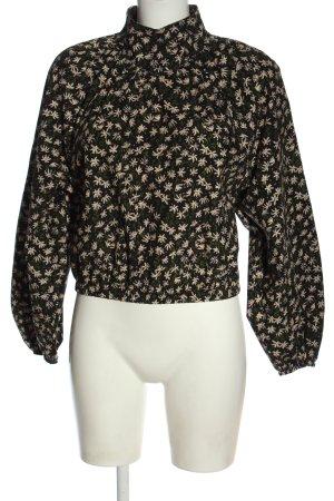 Zara Langarm-Bluse schwarz-wollweiß Allover-Druck Business-Look