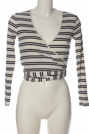 Zara Wraparound Shirt white-black striped pattern casual look
