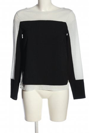 Zara Langarm-Bluse weiß-schwarz Casual-Look