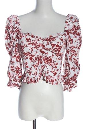 Zara Langarm-Bluse weiß-rot Allover-Druck Elegant