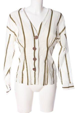 Zara Langarm-Bluse weiß-braun Streifenmuster Business-Look