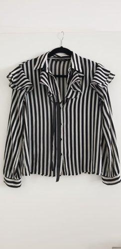 Zara Langarm Bluse gestreift schwarz weiß