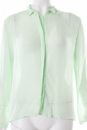 Zara Langarm-Bluse hellgrün Transparenz-Optik