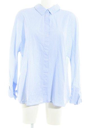 Zara Langarm-Bluse himmelblau-weiß Streifenmuster Business-Look