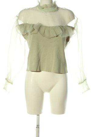 Zara Langarm-Bluse khaki Elegant