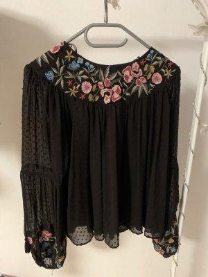 ZARA langarm Bluse mit Blumen