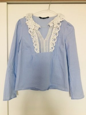 Zara langarm Bluse mit Spitzen weißblaue Streifen