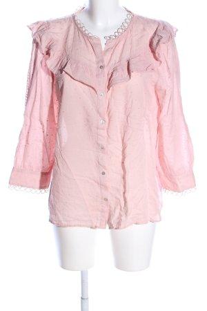 Zara Langarm-Bluse pink Allover-Druck Business-Look