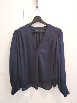 ZARA LANGARM Bluse Shirt Dunkles Blau XS