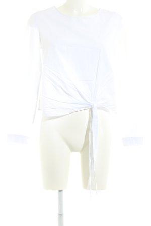 Zara Langarm-Bluse weiß Blumenmuster Stickereiverzierung