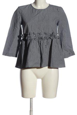 Zara Langarm-Bluse weiß-schwarz Karomuster Casual-Look