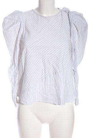 Zara Langarm-Bluse weiß Streifenmuster Casual-Look