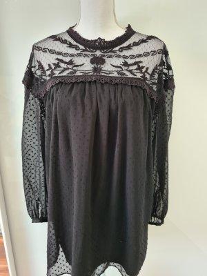 Zara langarm Kleid leicht transparent gepunktet in schwarz Gr. M