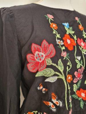 Zara langarm Oberteil Top Stickerei in schwarz mit Blumen Gr. S