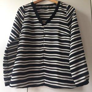 Zara Langarm Shirt Schwarz Weiß Gestreift Gr.S