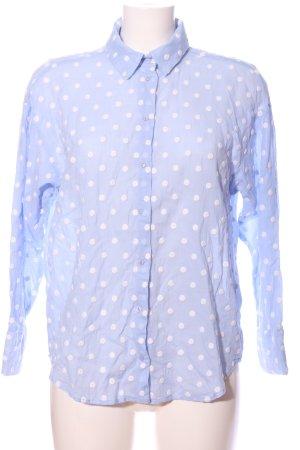 Zara Langarmhemd blau-weiß Allover-Druck Business-Look