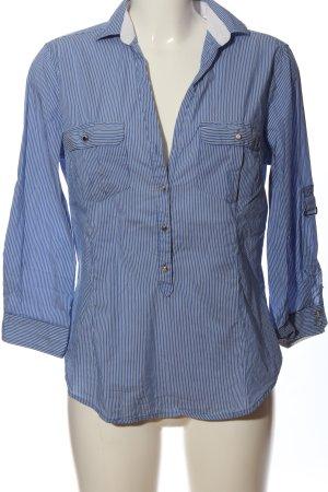Zara Langarmhemd blau-weiß Streifenmuster Casual-Look