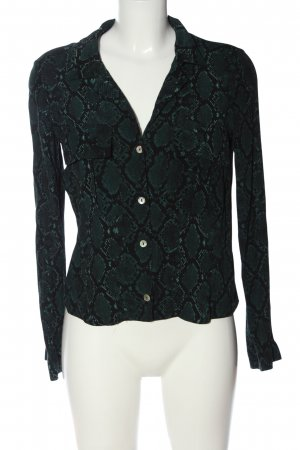 Zara Langarmhemd schwarz-grün Allover-Druck Casual-Look