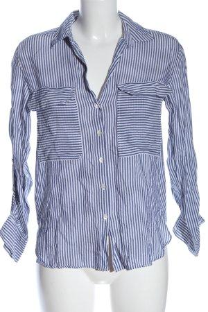 Zara Langarmhemd weiß-blau Streifenmuster Casual-Look