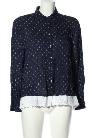 Zara Langarmhemd blau-weiß Allover-Druck Casual-Look