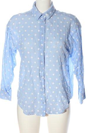 Zara Langarmhemd blau-weiß Punktemuster Casual-Look