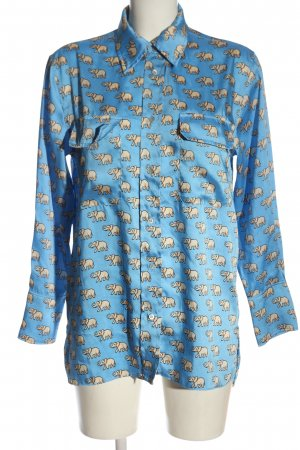 Zara Langarmhemd blau-wollweiß Allover-Druck Casual-Look