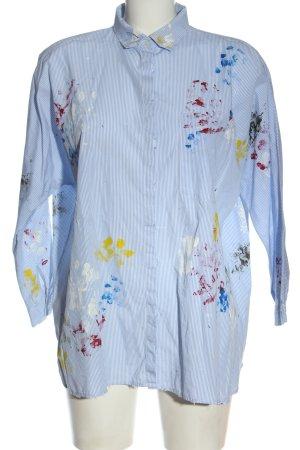 Zara Langarmhemd blau-weiß abstraktes Muster Elegant