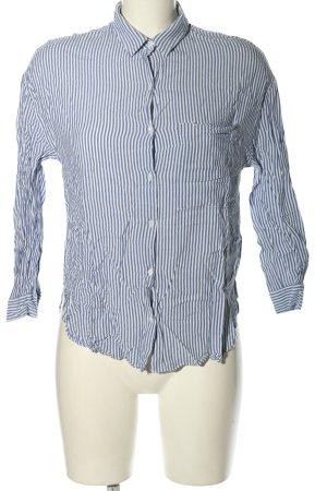 Zara Langarmhemd blau-weiß Streifenmuster Business-Look