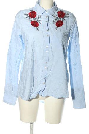 Zara Langarmhemd blau Blumenmuster Casual-Look