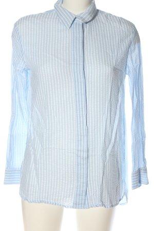 Zara Chemise à manches longues bleu-blanc motif rayé style décontracté