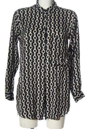 Zara Langarmhemd schwarz-weiß Allover-Druck Business-Look