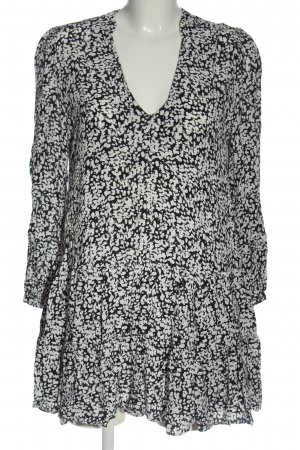 Zara Langarmkleid schwarz-weiß Allover-Druck Casual-Look