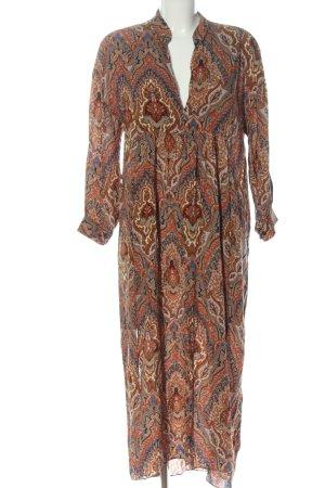Zara Langarmkleid braun abstraktes Muster Elegant