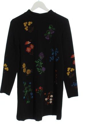 Zara Langarmkleid schwarz Blumenmuster Casual-Look