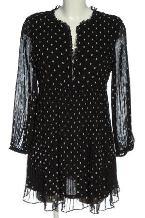 Zara Langarmkleid schwarz-weiß Allover-Druck klassischer Stil