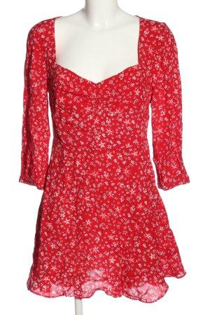 Zara Langarmkleid rot-weiß abstraktes Muster Casual-Look