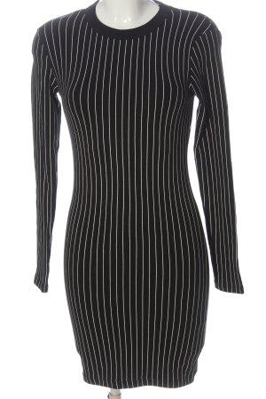 Zara Langarmkleid schwarz-weiß Streifenmuster Casual-Look