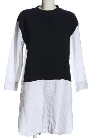 Zara Langarmkleid schwarz-weiß Casual-Look