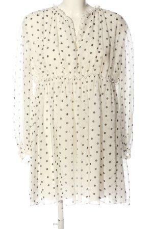 Zara Longsleeve Dress cream-light grey spot pattern casual look