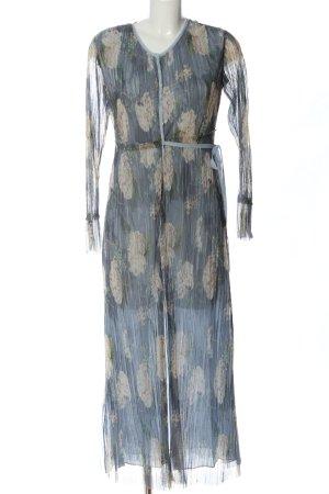 Zara Blusenkleid blau-creme Allover-Druck Elegant