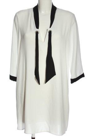 Zara Langarmkleid weiß-schwarz Elegant