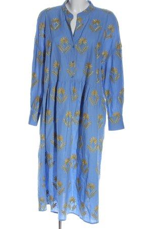 Zara Langarmkleid blau-blassgelb Allover-Druck Casual-Look