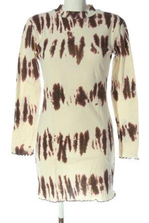 Zara Langarmkleid creme-braun abstraktes Muster Casual-Look