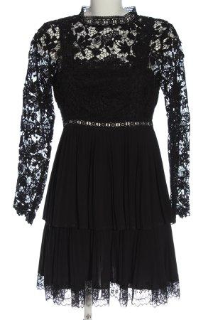 Zara Langarmkleid schwarz Webmuster Elegant
